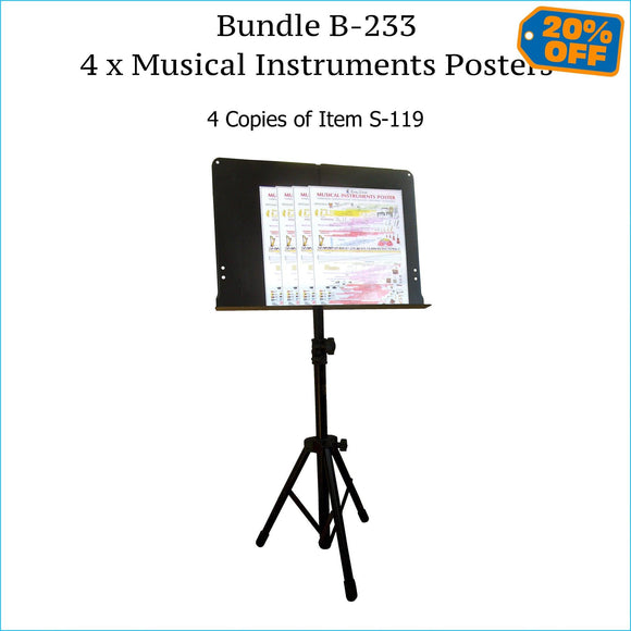Four musical instruments posters, music stand size.