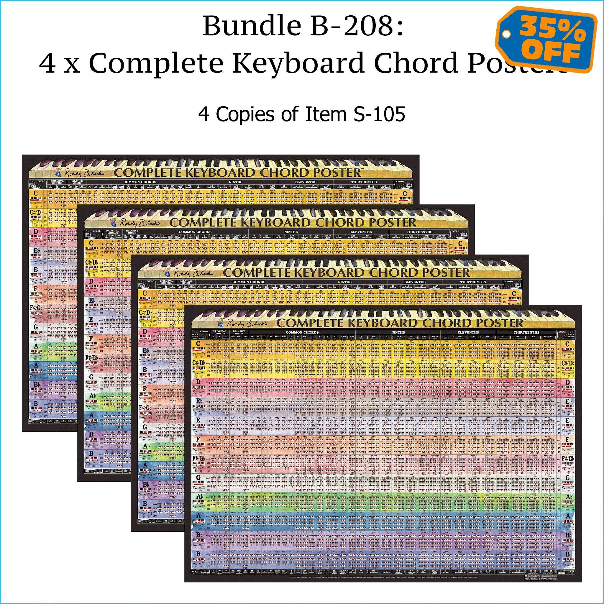 Four complete piano chord charts.