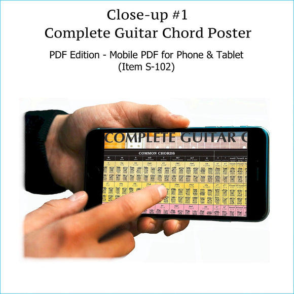 Item S-102: Complete Guitar Chord Chart on a SINGLE SCREEN. Zoom In or Out Like a Google Map. Comes with FREE Musical Instruments Poster (S-120). World's ONLY Complete Guitar Chord Chart. Printable.