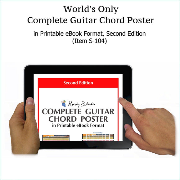 Complete guitar chords chart in printable ebook format, second edition.