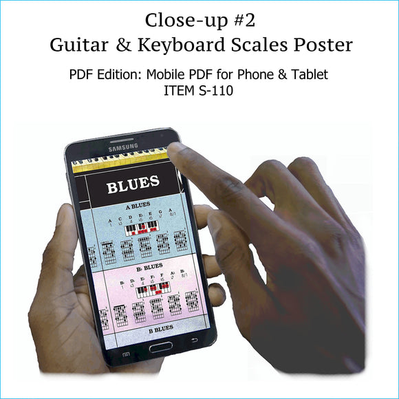Item S-110: Guitar & Keyboard Scales Chart on a SINGLE SCREEN. Zoom In or Out Like a Google Map. High-Resolution PDF. Printable.