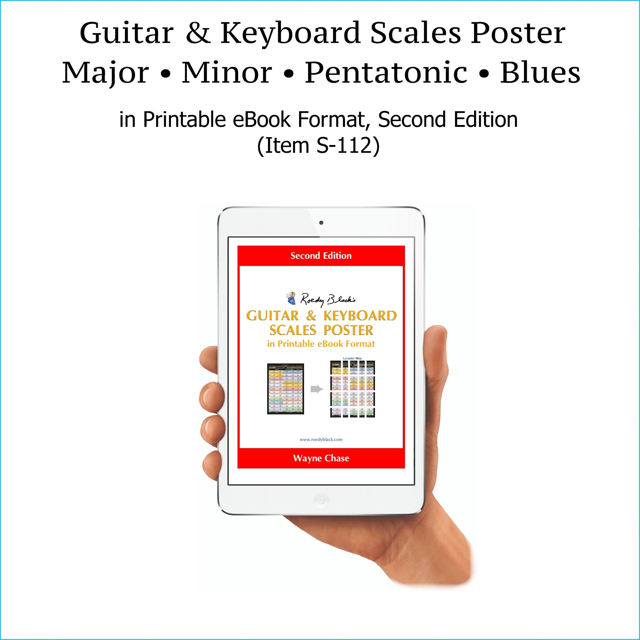 Guitar and keyboard scales poster in printable ebook format, second edition.