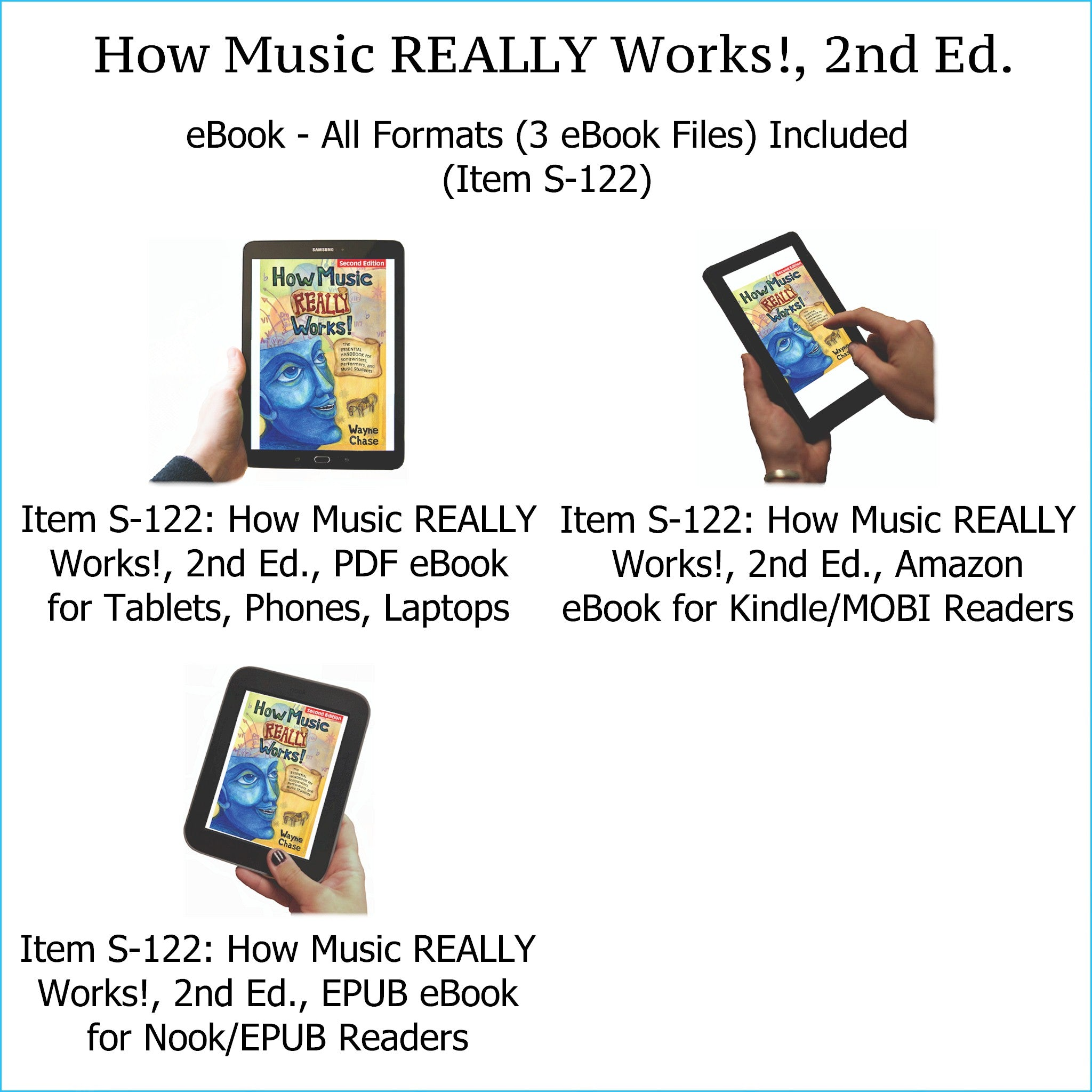 Item S-122: How Music REALLY Works!, 2nd Edition eBook, All Formats Included (PDF, mobi/Kindle, epub/Nook). Comes with BONUS Chord Progression Chart, PDF Edition and Musical Instruments Poster, PDF Edition.