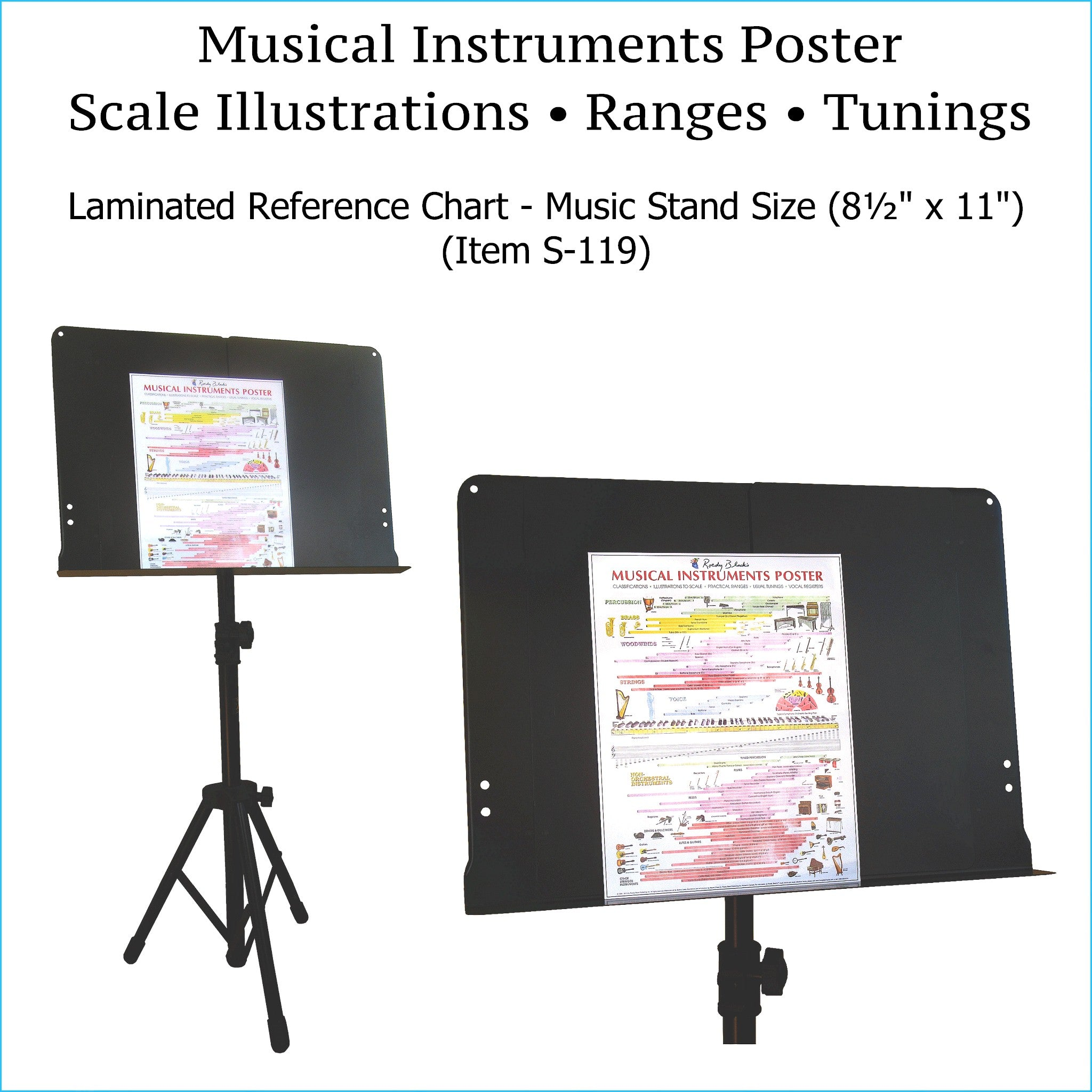 Musical instruments poster, music stand size.