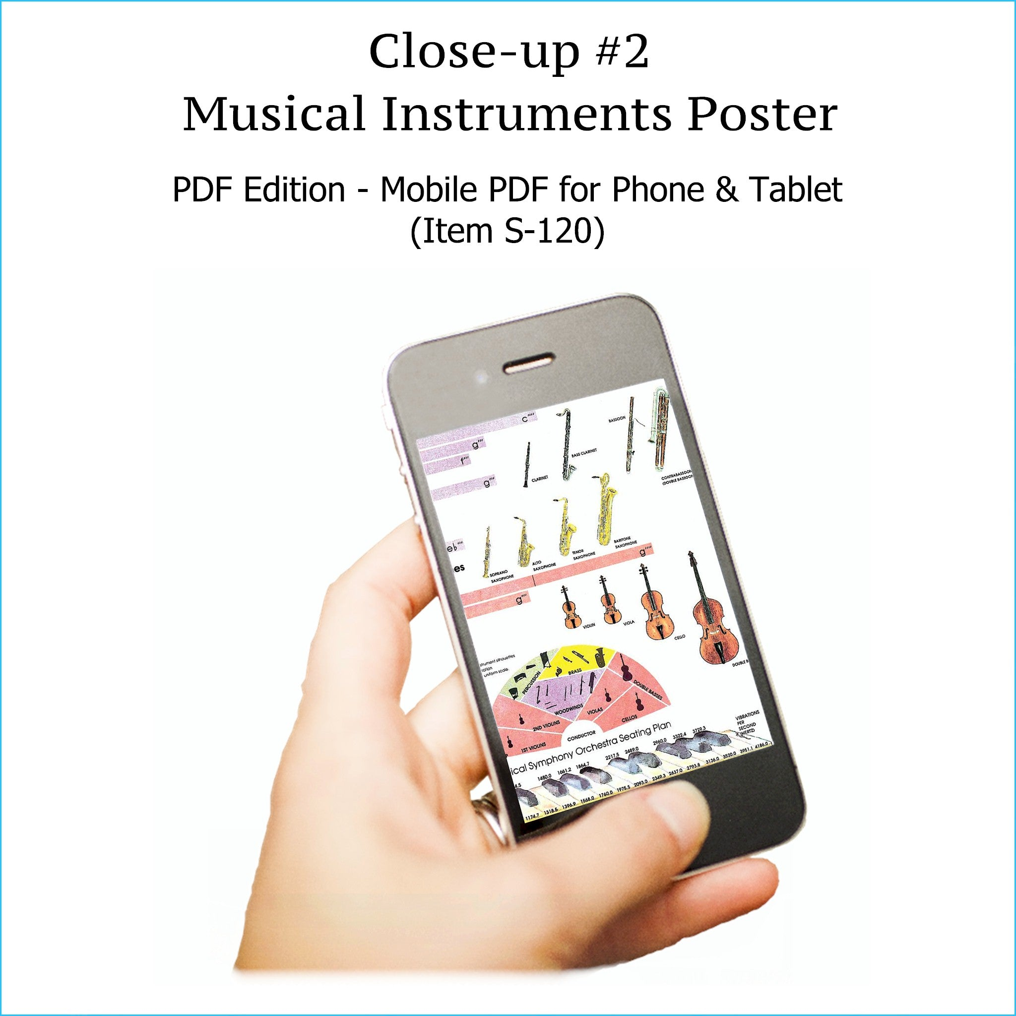 Item S-120: Musical Instruments Poster on a SINGLE SCREEN. Zoom In or Out Like a Google Map. Provides Info for Creating, Arranging, & Mixing. FREE Download Protection. Printable.
