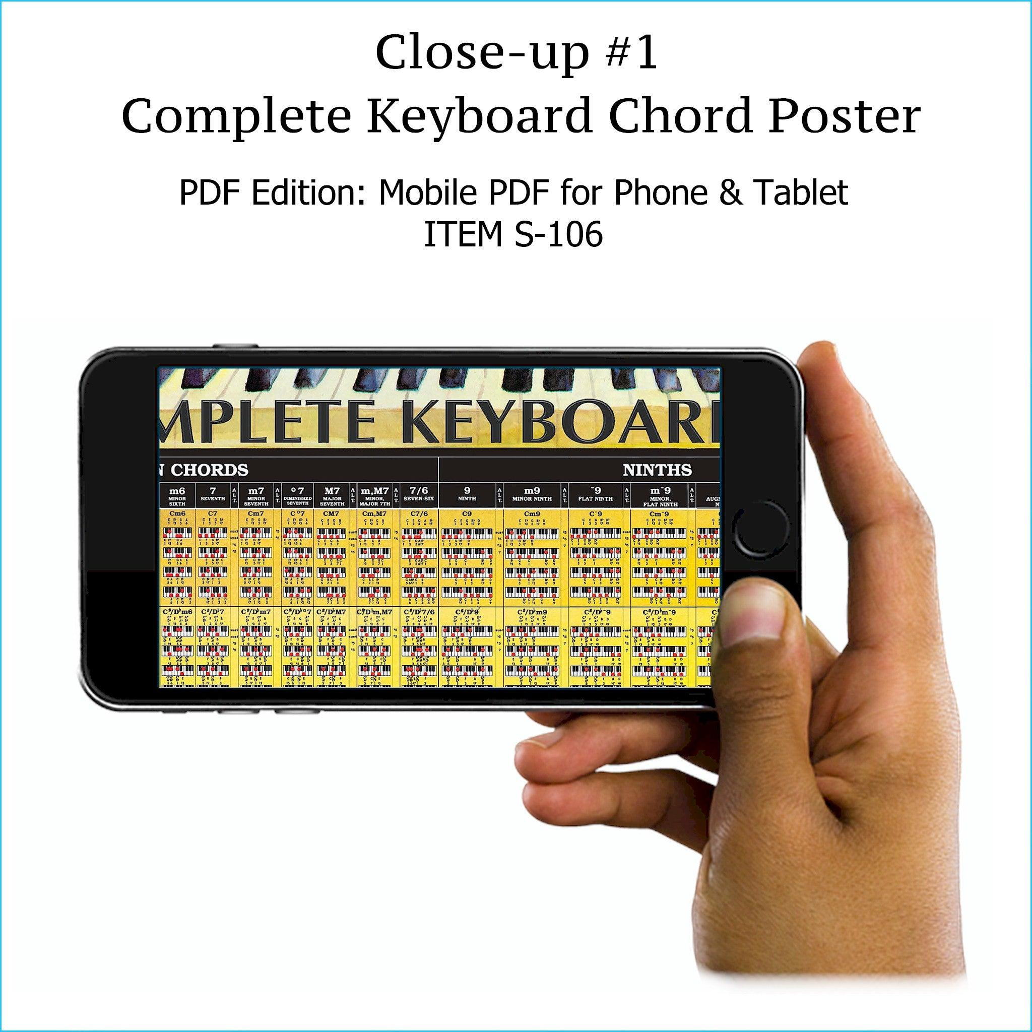 Item S-106: Complete Piano/Keyboard Chord Chart on a SINGLE SCREEN. Zoom In or Out Like a Google Map. Comes with FREE Musical Instruments Poster (S-120). World's ONLY Complete Keyboard Chord Chart. Printable.