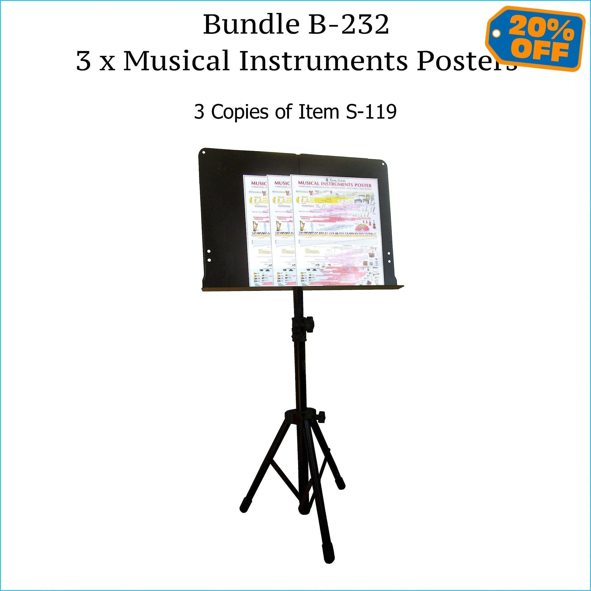 Three musical instruments posters, music stand size.