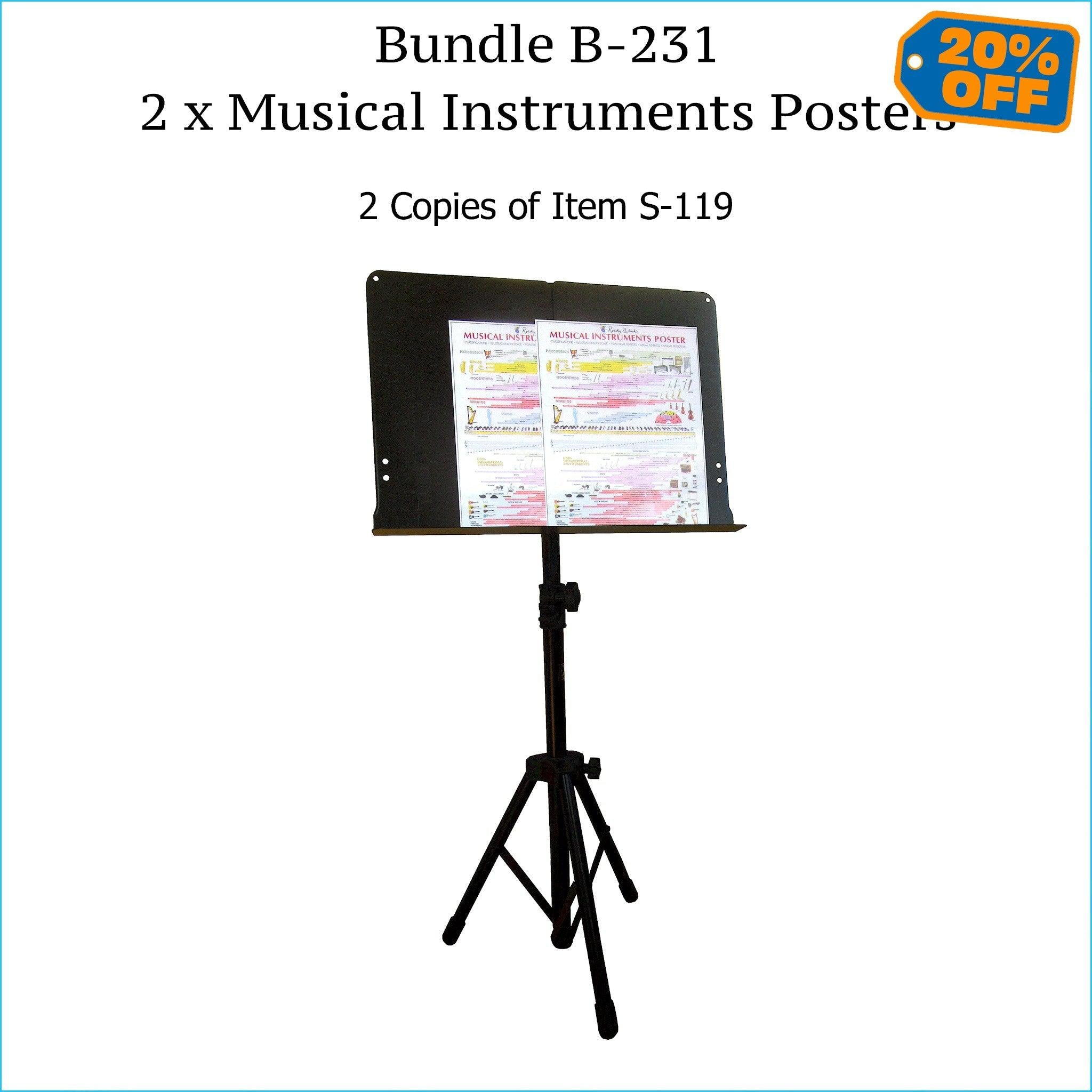 Two musical instruments posters, music stand size.