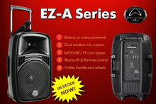 "Wharfedale EZ12A PORTABLE Battery 12"" PA on Wheels with 2 wireless Mics"