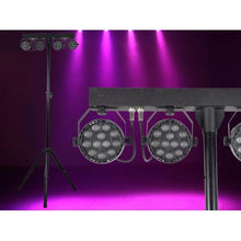 VIVIDBAR Instant Light Show Using 4 X Compact 12x3W RGB Washes On Stand. Controlled By IR Remote