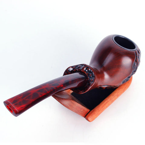 Red Texture Carved Pipe