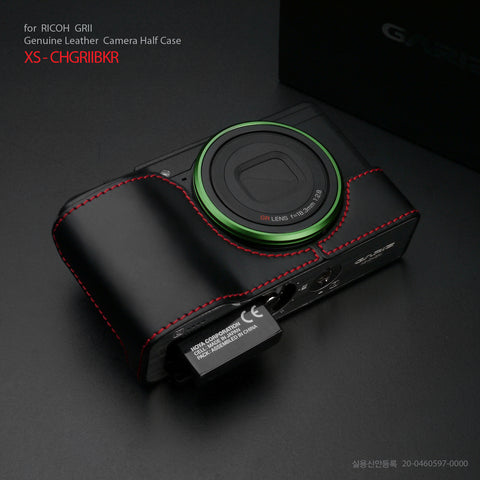 Gariz XS-CHGRIIBKR Black Red Stitching Genuine Leather Half Case for Ricoh GR II