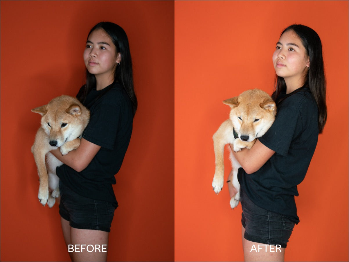 fill lighting before after