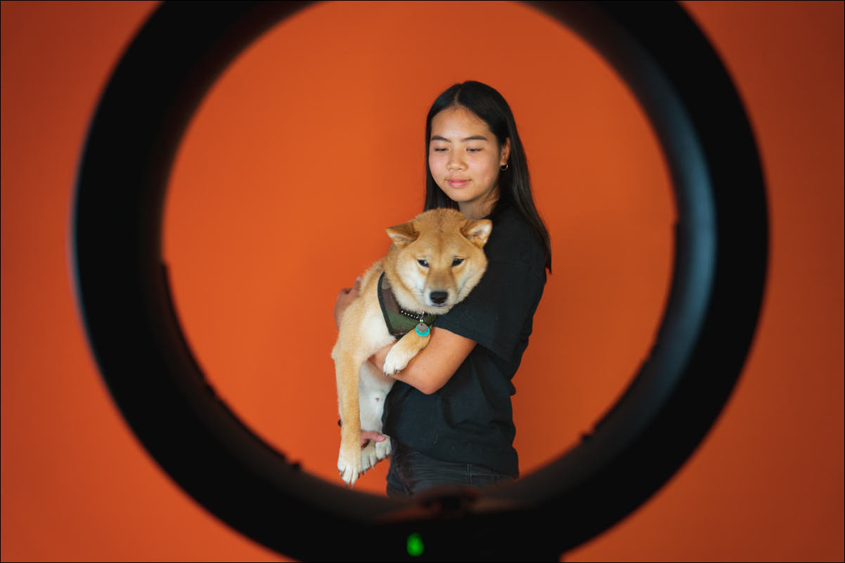 owner and dog portrait with fill lighting