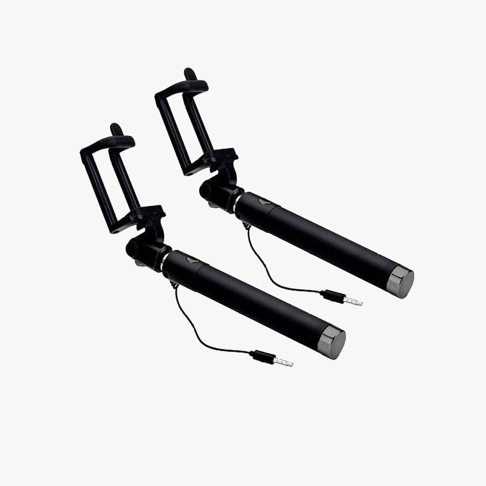 Black Extendable 2x Selfie Stick (Android iOS/ iPhone 6 6S 7 Plus) - Bestie Bundle