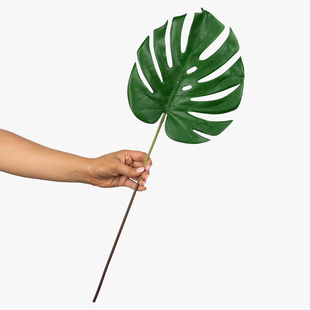 Artificial 58cm Monstera Plain Leaf Stem Photography Styling Prop