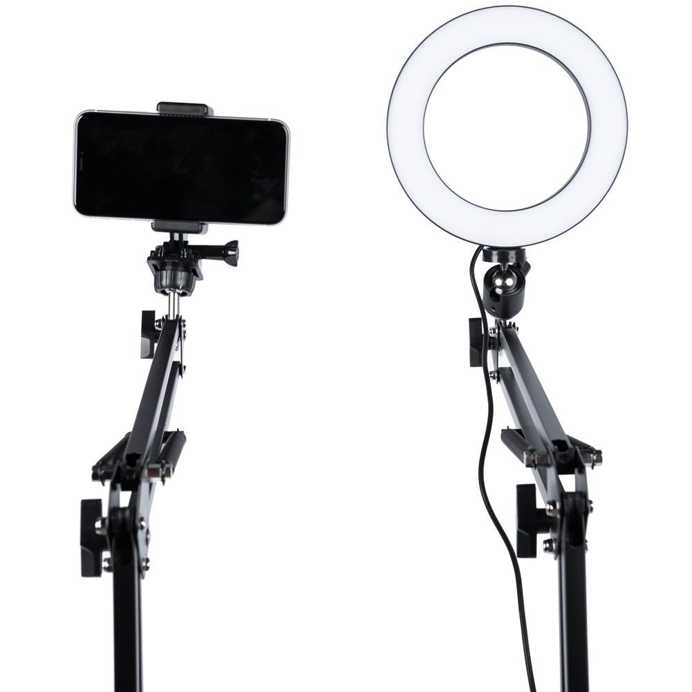 "LED 6"" Ring Light with Smartphone Holder Tabletop Lighting Kit - 'Inner Artist Plus'"