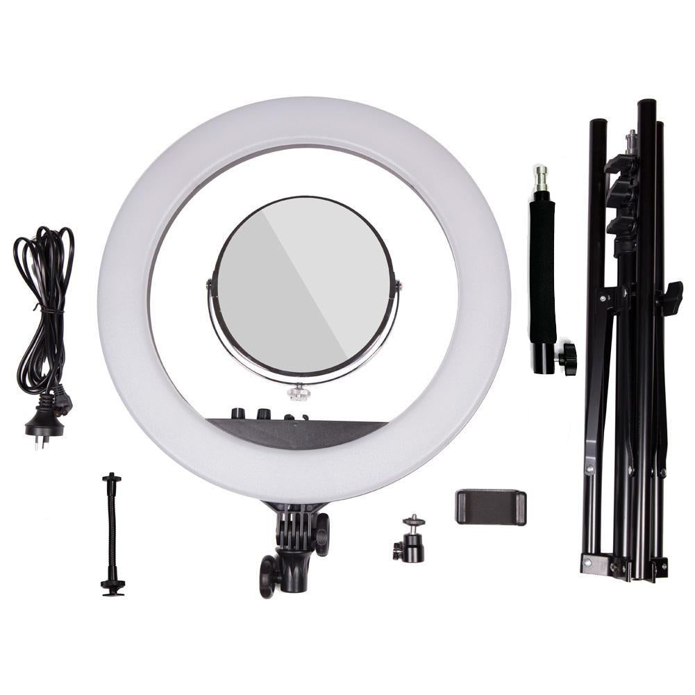 "Complete Beauty Studio Diamond Luxe Ring Light & 9"" LED Panel Lighting Kit"