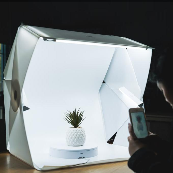 "Foldio3 25"" Product Photography Studio Tent Box (Includes LED Lights and 2 Backdrops)"