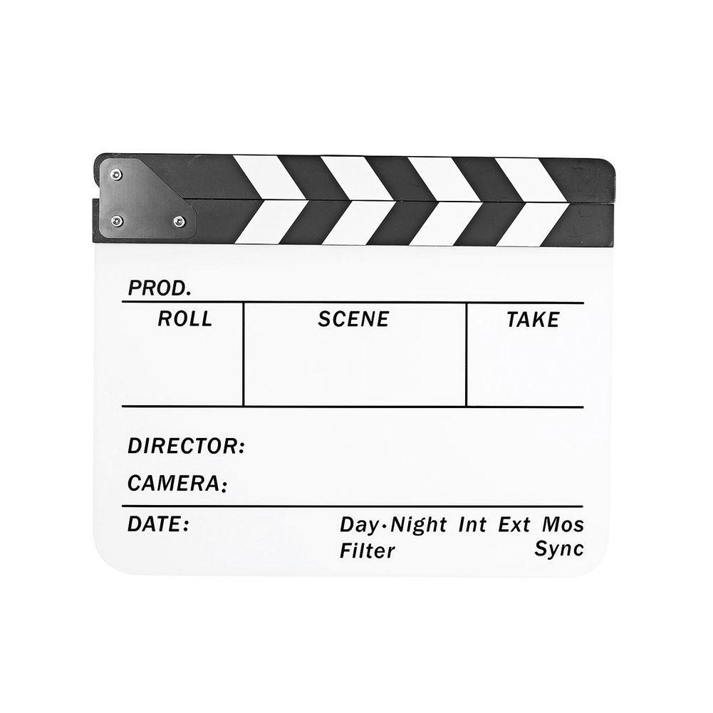 Director's Acrylic Production Slate Clapperboard (Black and White)