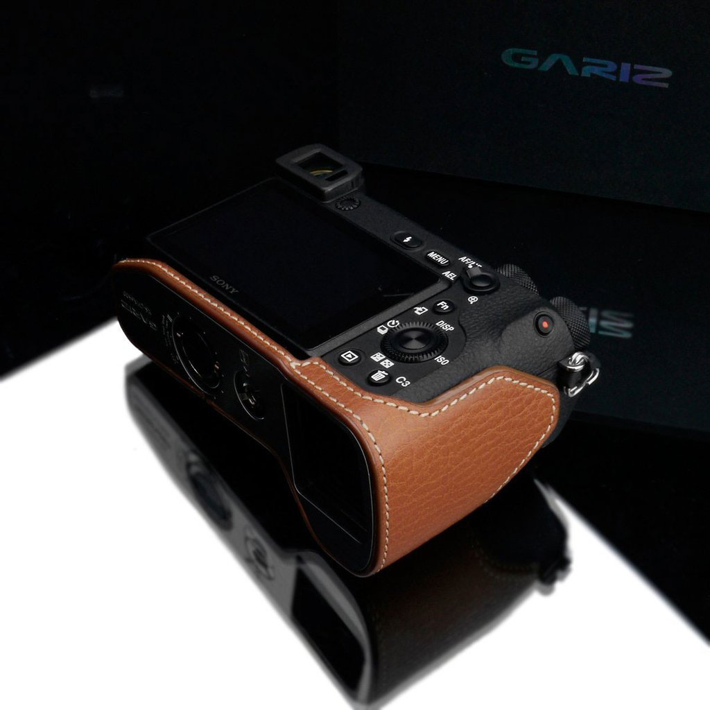 Gariz XS-CHA6500CM Genuine Leather Camera Half Case Camel for Sony A6500