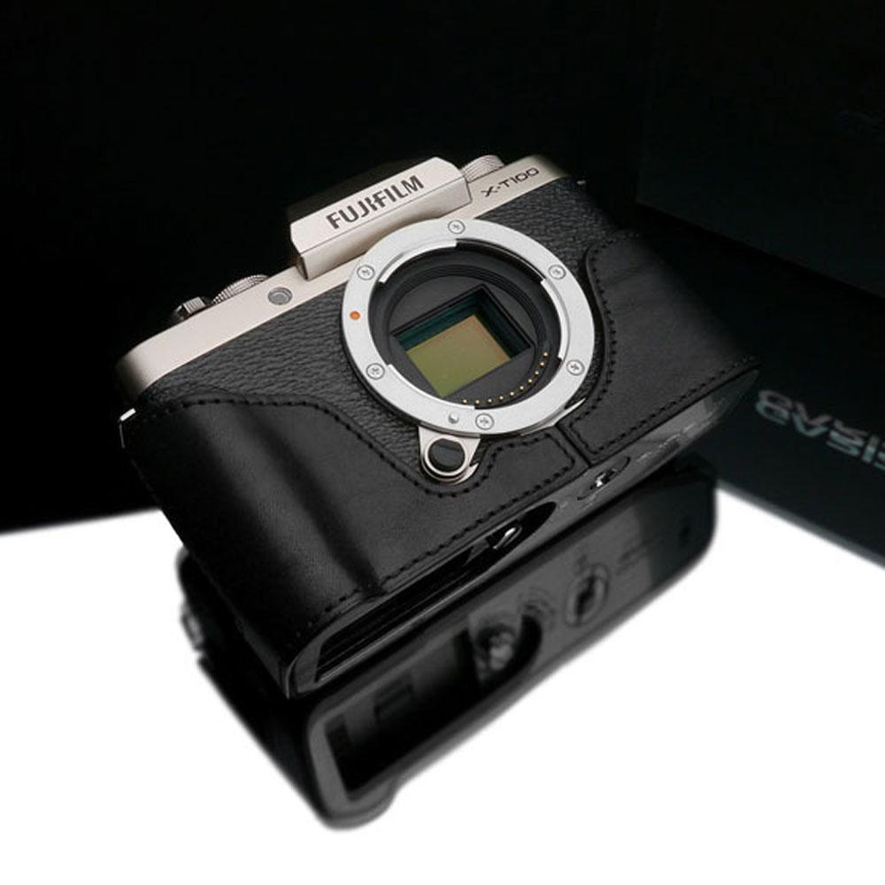 Gariz XS-CHXT100BK Black Leather Camera Half Case w/ Capfix Black for Fujifilm Fuji X-T100