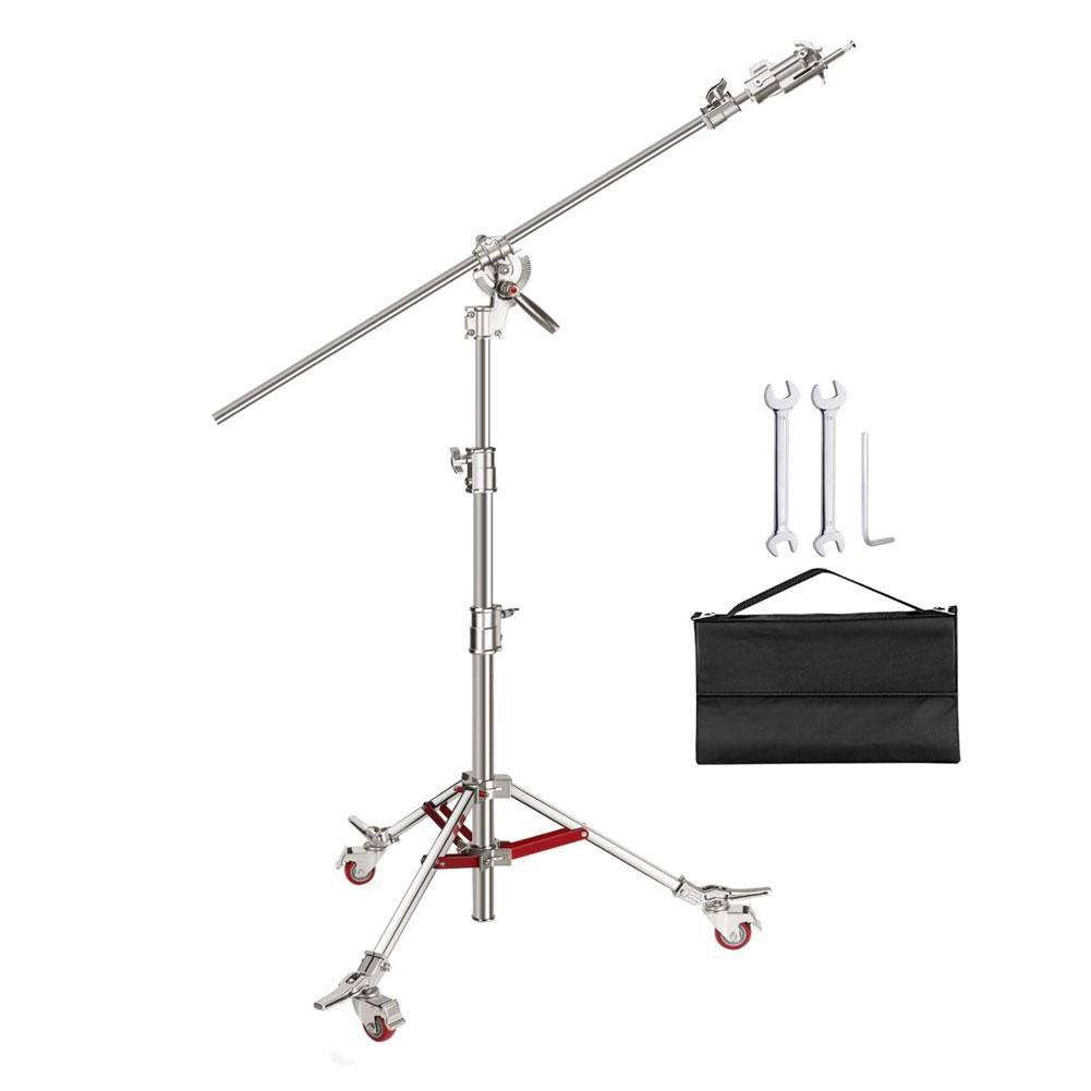 Heavy Duty Photographic C-Stand & Boom Arm with Wheels (40kg Load)