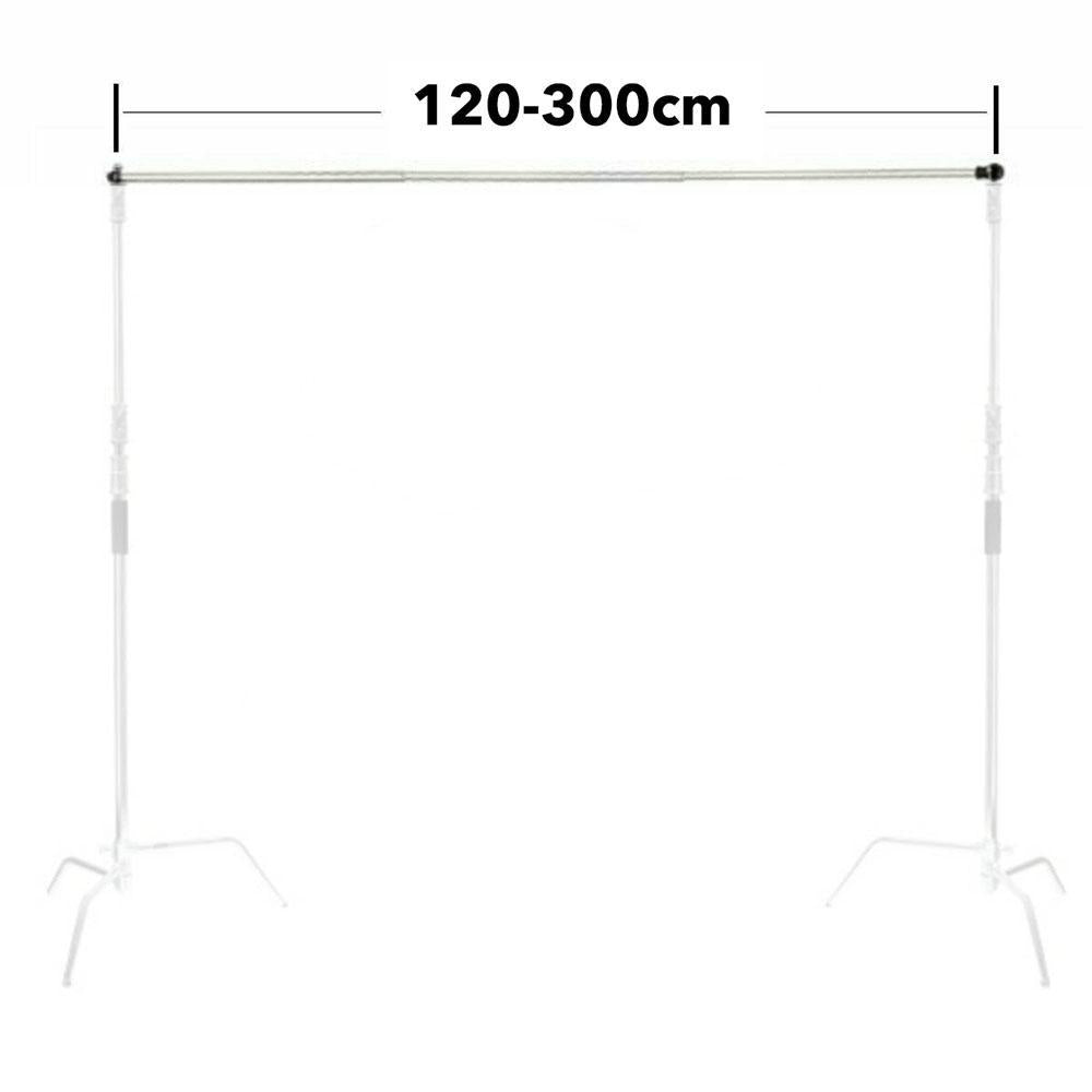 Backdrop Stand Telescopic Crossbar Rod (Extendable from 1.2m - 3m) - Silver
