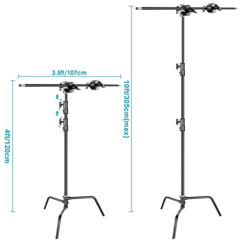 Heavy Duty Photographic Black C-Stand With Boom Arm (20kg Load)
