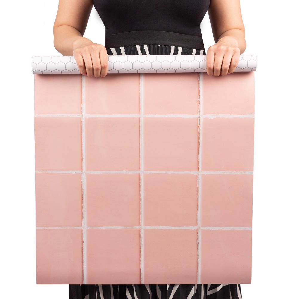 Flat Lay Instagram Backdrop - 'Clovelly' Pink Square Tiles (56cm x 87cm)