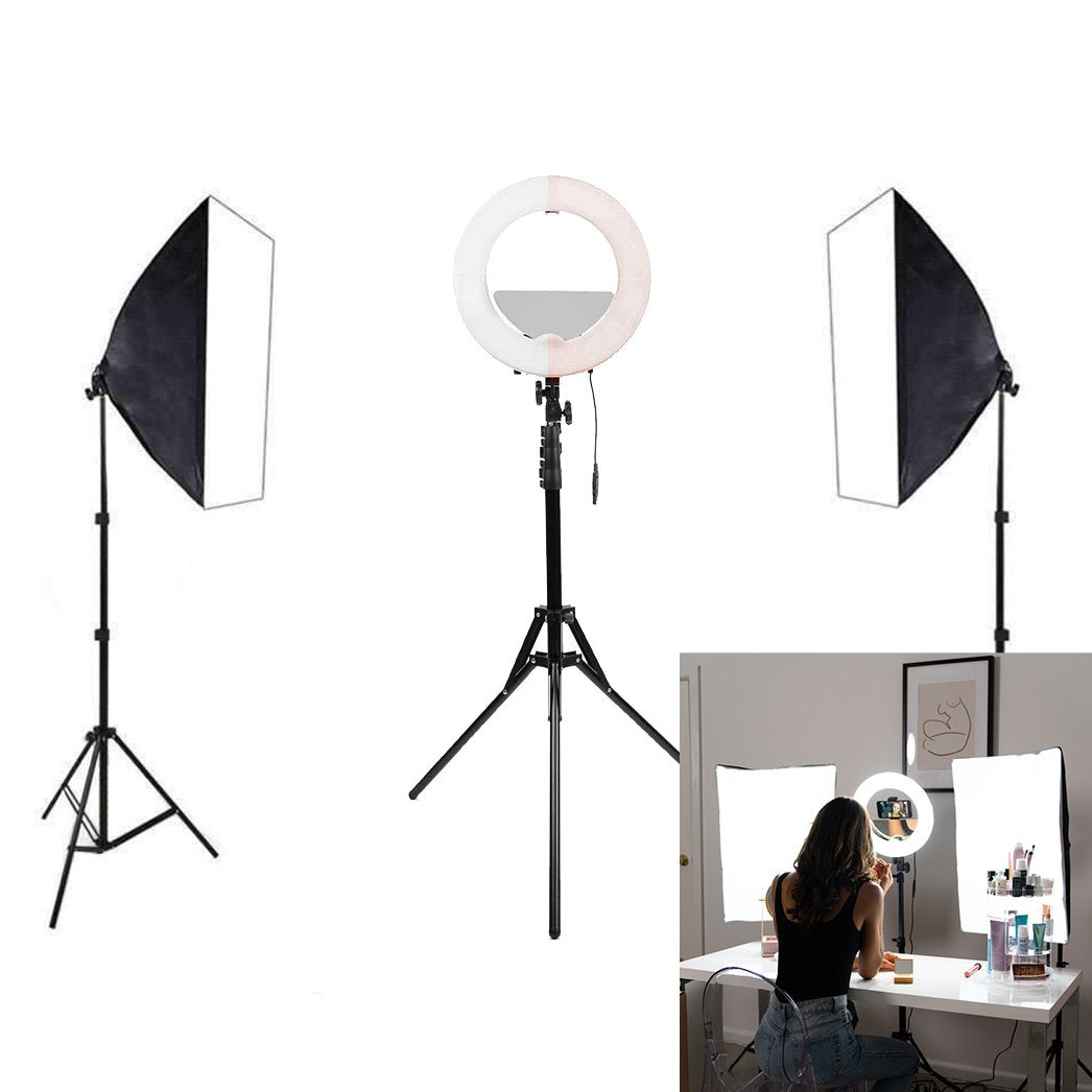 "Blogger & Vlogger 14"" Ring Light & Softbox Kit - Spectrum Aurora Mini Pearl II"