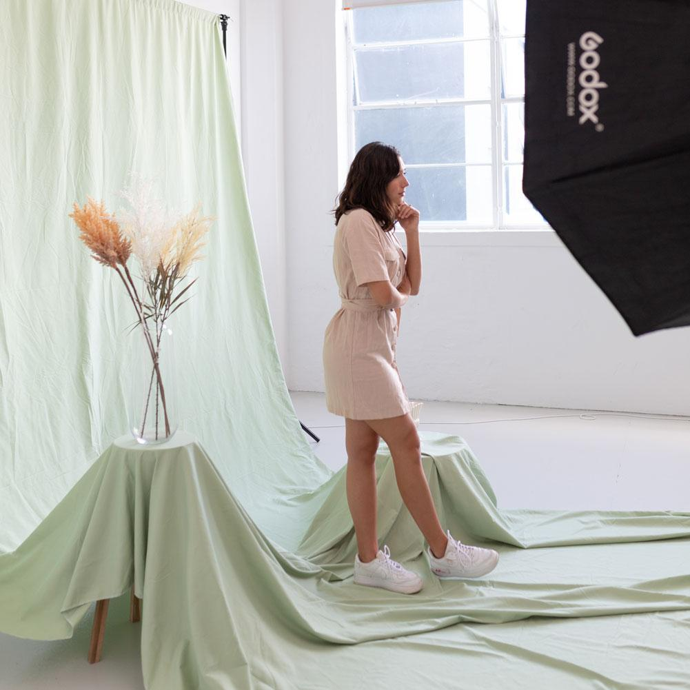 'Pastel Palette' Cotton Muslin Backdrop 3M x 6M - Holy Guacamole Green