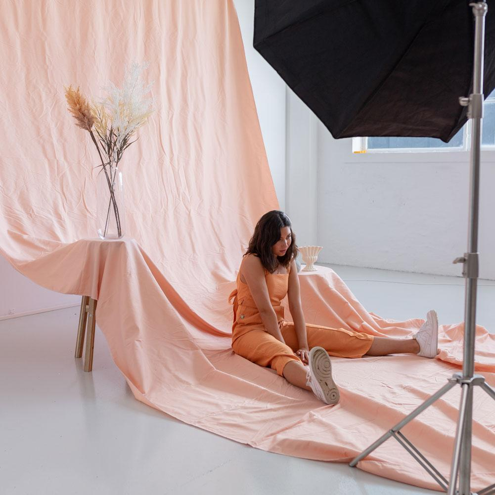 'Pastel Palette' Cotton Muslin Backdrop 3M x 6M - Pink Salmon