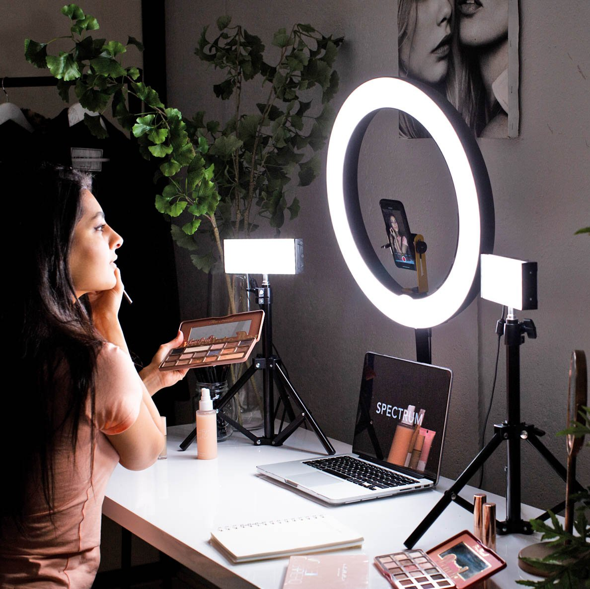 "Youtube & Beauty 19"" Pro Ring Light & LED Panel Kit -  Gold Luxe II"