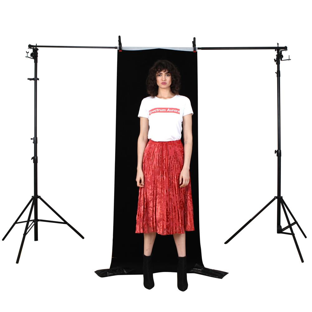 Black 'Fotodrop' Synthetic Non-Woven Portrait Background 0.91m x 2.75m (Pegs and Backdrop Stand not included)