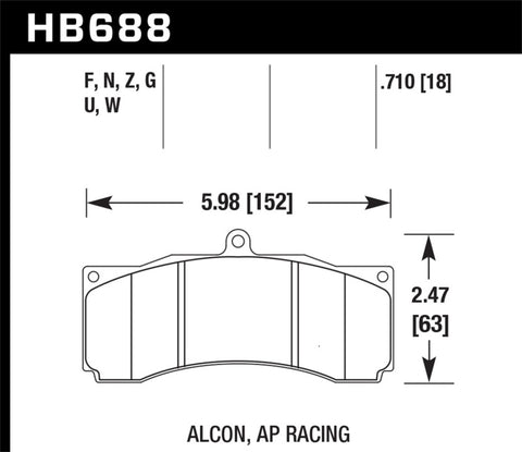 Hawk DTC-80 AP Racing/Stop Tech Universal Performance Compound Racing Brake Pads - HB688Q.710