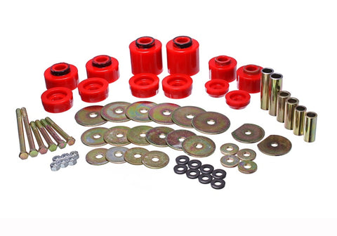 Energy Suspension 80-96 Ford F-150/250/350 Red Body Mount Set Includes Hardware - 4.4123R