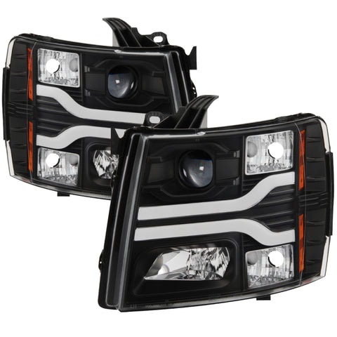 Spyder Chevy Silverado 1500 07-13 Version 3 Projector Headlights - Black PRO-YD-CS07V3-LBDRL-BK - 5083609