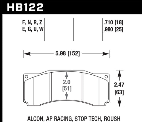 Hawk DTC-80 AP Racing Alcon Race Brake Pads - HB122Q.710