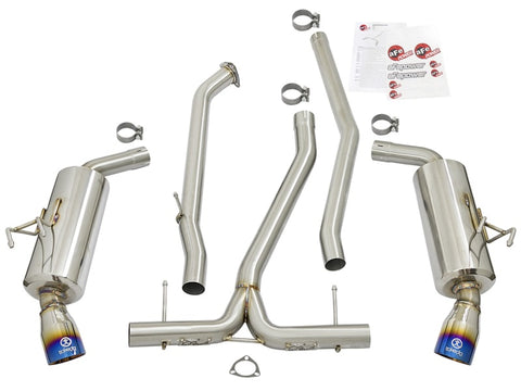 aFe POWER Takeda 16-17 Honda Civic I4-1.5L (t) 2.5-2.25in 304 SS CB Dual-Exit Exhaust Blue Tips - 49-36615-L