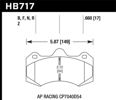 Hawk HP Plus AP Racing Brake Pads - HB717N.660