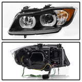 Spyder BMW E90 3-Series 06-08 4DR Headlights - Halogen Model Only - Black PRO-YD-BMWE9005V2-AM-BK - 5083432