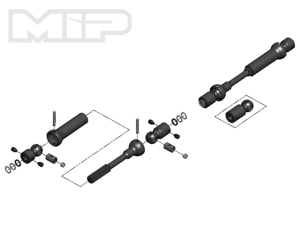 MIP X-Duty™, Center Drive Kit, 115mm to 140mm w/ 5mm Hubs, Axial Wraith, SCX10 Trail Honcho, Wrangler, Cherokee #18160
