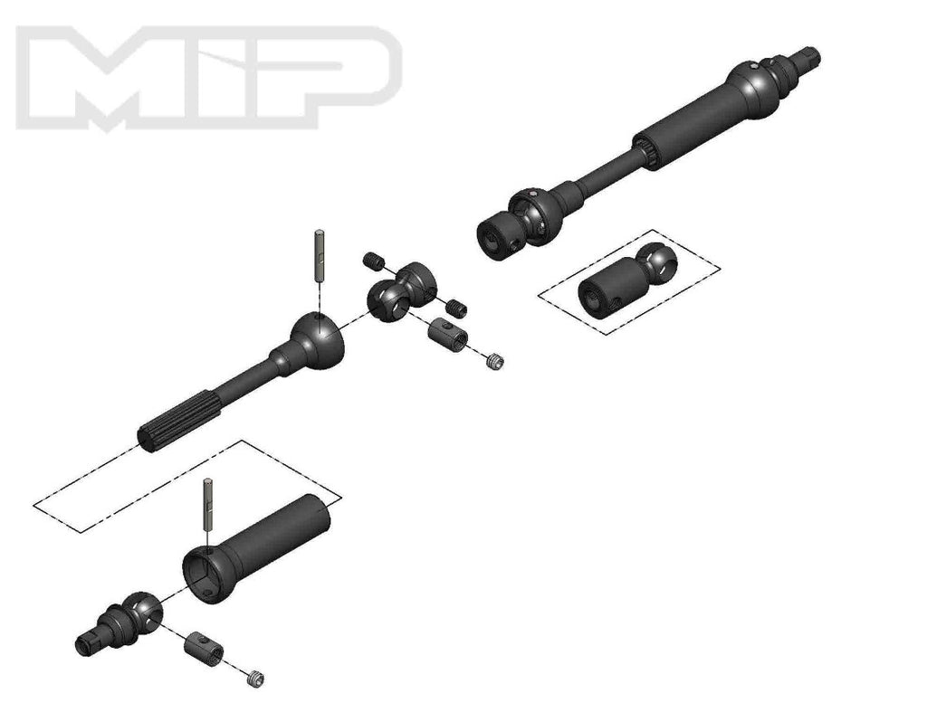 #18180 - MIP X-Duty™, Center Drive Kit, 95mm to 130mm w/ 5mm Hubs, Vaterra K5, K10, Ascender, Bronco