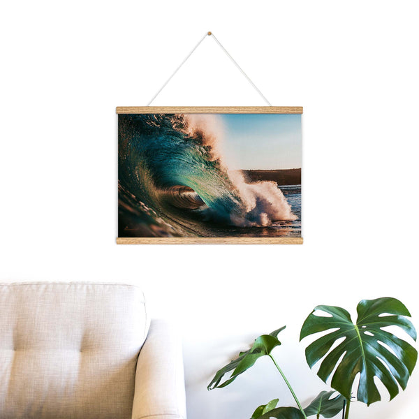 """Sunset Wave"" Wooden Hanging Frame"