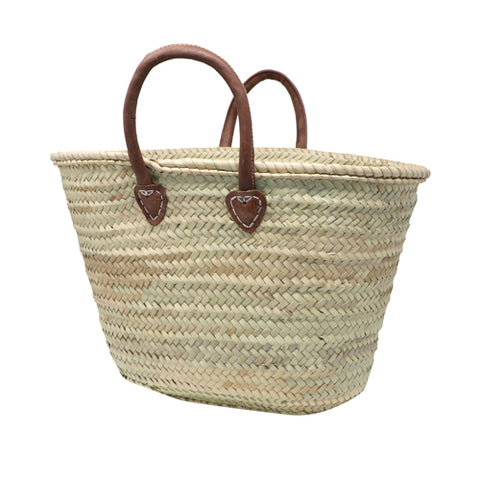 straw bag short leather handles - MEDIUM