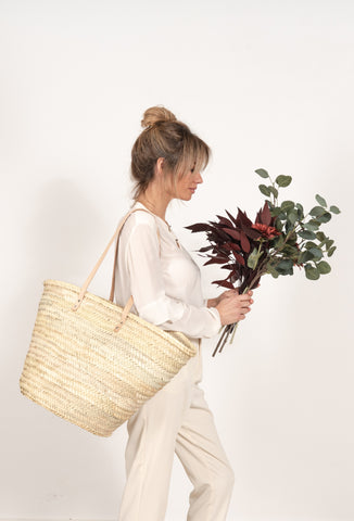 straw bag long leather handles - LARGE