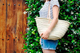 straw bag - long leather handles