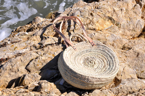 round straw bag - double leather handle