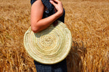 round straw bag - long leather handles